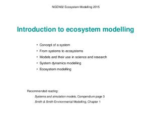 Introduction to ecosystem modelling
