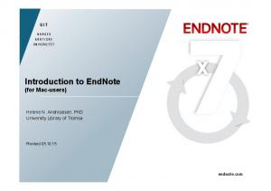 Introduction to EndNote (for Mac-users)