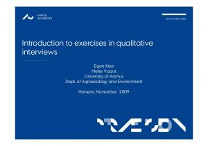 Introduction to exercises in qualitative interviews