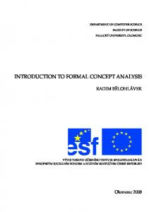 INTRODUCTION TO FORMAL CONCEPT ANALYSIS