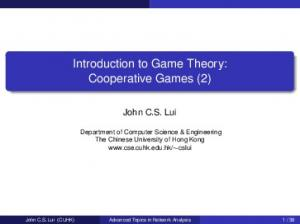 Introduction to Game Theory: Cooperative Games (2)