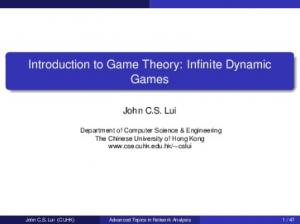 Introduction to Game Theory: Infinite Dynamic Games