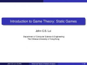 Introduction to Game Theory: Static Games