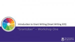 Introduction to Grant Writing (Grant Writing 101) Grantober Workshop One