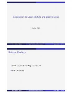 Introduction to Labor Markets and Discrimination
