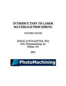 INTRODUCTION TO LASER MATERIALS PROCESSING