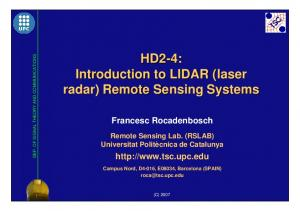 Introduction to LIDAR (laser( radar) Remote Sensing Systems