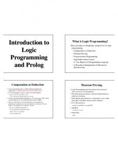 Introduction to Logic Programming and Prolog