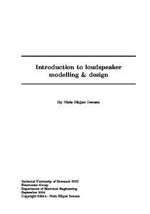 Introduction to loudspeaker modelling & design