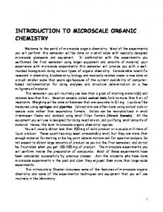 INTRODUCTION TO MICROSCALE ORGANIC CHEMISTRY