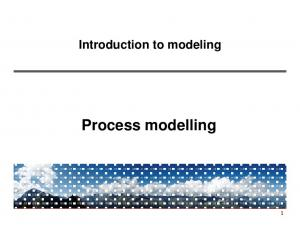 Introduction to modeling. Process modelling