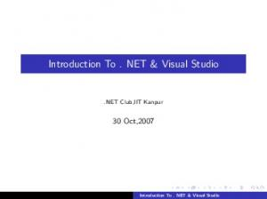 Introduction To. NET & Visual Studio