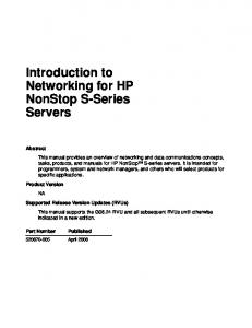 Introduction to Networking for HP NonStop S-Series Servers