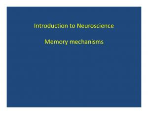 Introduction to Neuroscience. Memory mechanisms