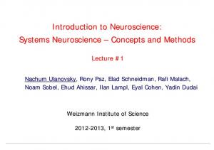 Introduction to Neuroscience: Systems Neuroscience Concepts and Methods