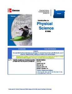 Introduction to. Physical Science Content Standards Grades 6-8. Oregon