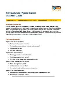 Introduction to Physical Science Teacher s Guide