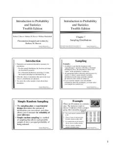 Introduction to Probability and Statistics Twelfth Edition. Introduction to Probability and Statistics Twelfth Edition. Sampling