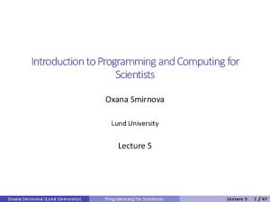 Introduction to Programming and Computing for Scientists