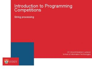 Introduction to Programming Competitions