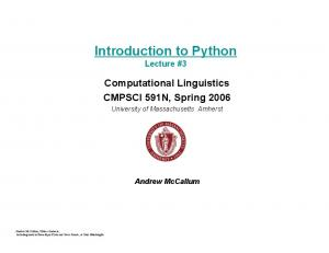 Introduction to Python Lecture #3