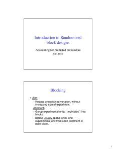 Introduction to Randomized block designs