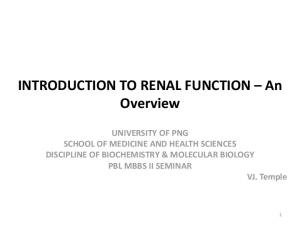INTRODUCTION TO RENAL FUNCTION An Overview
