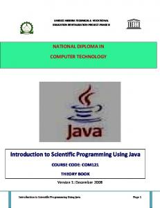Introduction to Scientific Programming Using Java