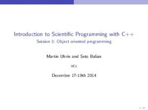 Introduction to Scientific Programming with C++