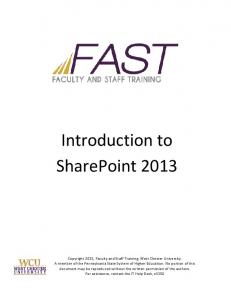 Introduction to SharePoint 2013