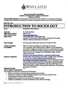 INTRODUCTION TO SOCIOLOGY Term: