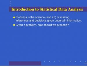 Introduction to Statistical Data Analysis