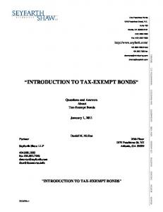 INTRODUCTION TO TAX-EXEMPT BONDS