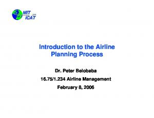 Introduction to the Airline Planning Process