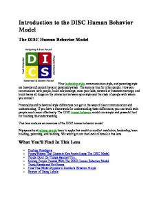 Introduction to the DISC Human Behavior Model