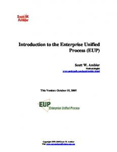 Introduction to the Enterprise Unified Process (EUP)