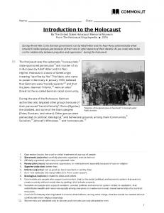 Introduction to the Holocaust By The United States Holocaust Memorial Museum From The Holocaust Encyclopedia 2016