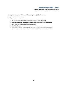 Introduction to UNIX Part 2