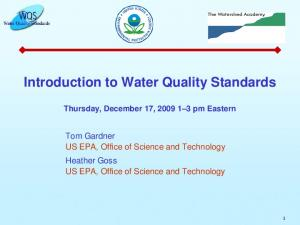 Introduction to Water Quality Standards Thursday, December 17, pm Eastern