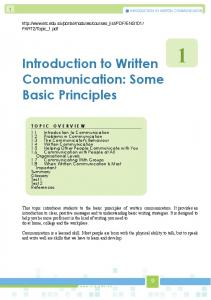 Introduction to Written. Communication: Some Basic Principles