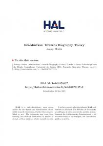 Introduction: Towards Biography Theory