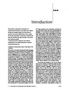 Introduction. xvii WORLD LITERATURE TODAY: HISTORY AND LEGEND. companion to contemporary world literature: volume 1