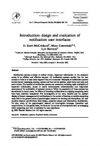 Introduction:design and evaluation of notification user interfaces
