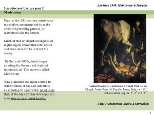 Introductory Lecture part 2 Modernism
