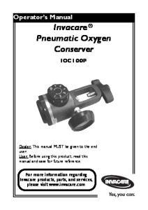 Invacare Pneumatic Oxygen Conserver
