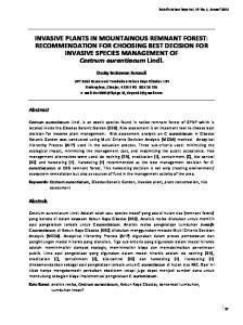 INVASIVE PLANTS IN MOUNTAINOUS REMNANT FOREST: RECOMMENDATION FOR CHOOSING BEST DECISION FOR INVASIVE SPECIES MANAGEMENT OF Cestrum aurantiacum Lindl