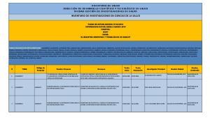 INVENTARIO DE INVESTIGACIONES EN CIENCIAS DE LA SALUD