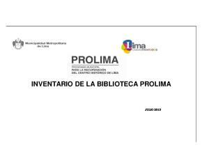 INVENTARIO DE LA BIBLIOTECA PROLIMA