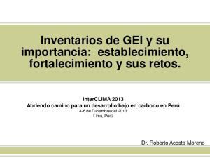 Inventarios de GEI y su importancia: establecimiento, fortalecimiento y sus retos