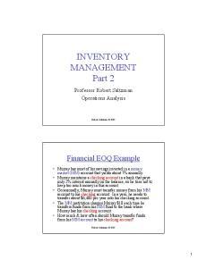 INVENTORY MANAGEMENT Part 2